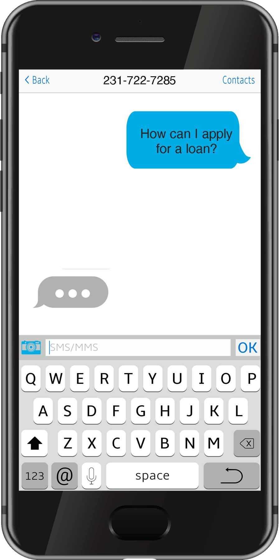 cell phone displaying the use of mobile texting